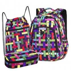 ZESTAW 3 el. Plecak CoolPack STRIKE kolorowa przeplatanka, RIBBON GRID + pompon (87889CPSET3CZ)
