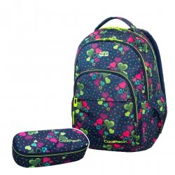 ZESTAW 2 el. Plecak CoolPack BASIC PLUS w zielone serca, LIME HEARTS (B03010SET2CZ)