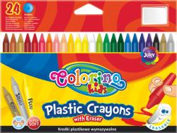 Kredki plastikowe, wymazywalne, 24 kolory z gumką Colorino (92029)