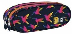 Piórnik dwukomorowy ST.RIGHT w tęczowe ptaki, RAINBOW BIRDS PU2 (22526)