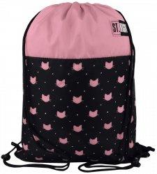 Worek na obuwie czarny w różowe kotki, MEOW SO-01 (17379)