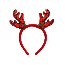 Opaska świąteczna na głowę ROGI RENIFERA cekinowa (0111-0021)