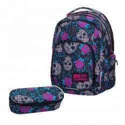 ZESTAW 2 el. Plecak CoolPack BREAK w czaszki i róże, SKULLS & ROSES (B24049SET2CZ)