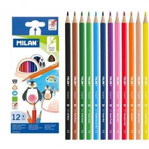 Kredki ołówkowe MILAN 12 kolorów trójkątne (0722312)