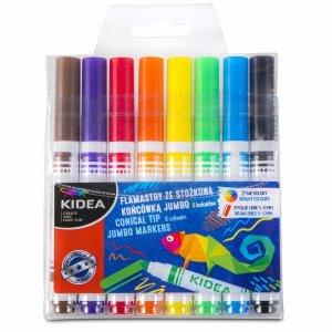 Flamastry ze stożkową końcówką 8 kolorów KIDEA (FSKJ8KA)