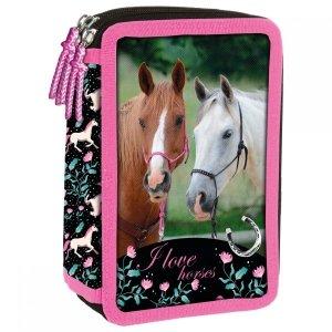 Piórnik trójkomorowy bez wyposażenia I LOVE HORSES Konie (PTKKO20)
