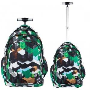 Plecak szkolny młodzieżowy na kółkach ST.RIGHT w zielone klocki 3D, GREEN 3D BLOCKS TB1 (26258)