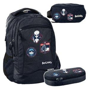 ZESTAW 3 el. Plecak szkolny młodzieżowy kosmici, UFO Paso (PPUF20-2808SET3CZ)