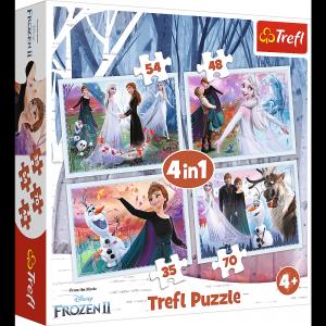 TREFL Puzzle 4 w 1 Kraina Lodu 2 FROZEN, W magicznym lesie (34344)