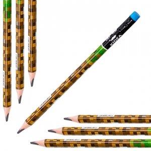 Ołówek szkolny trójkątny gruby z gumką HB JUMBO GAME dla fana gry MINECRAFT Kidea (OTGNKA)