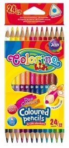 Kredki trójkątne dwukolorowe, 24 kolory COLORINO (33046)