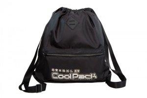 Plecak Sportowy Worek na sznurkach CoolPack URBAN czarny ze srebrnymi dodatkami, SUPER SILVER (A46118)