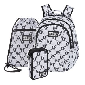 ZESTAW 3 el. Plecak wczesnoszkolny CoolPack JOY S 21L buldogi, FRENCH BULLDOGS (C48247SET3CZ)