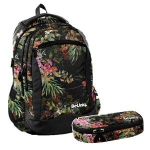 ZESTAW 2 el. Plecak szkolny młodzieżowy kwiaty, FLOWERS Paso (PPRS20-2808SET2CZ)