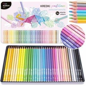 Kredki trójkątne pastelowe w metalowym pudełku 36 kolorów KIDEA (KPTMP36KA)