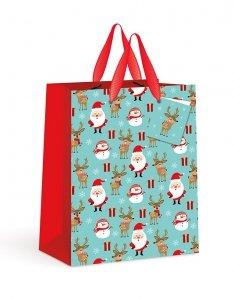 Torebka świąteczna duża na prezent MIKOŁAJ BAŁWANEK RENIFER Interdruk (92308)