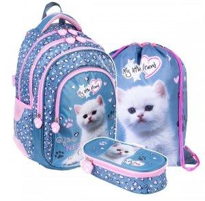 ZESTAW 3 el. Plecak szkolny St. Majewski My Little Friend KITTY Kotek BP58 (34383SET3CZ)