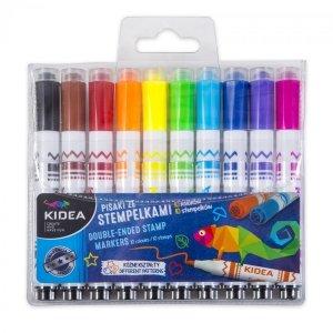 Pisaki ze stempelkami w etui KIDEA 10 kolorów (PS10KA)