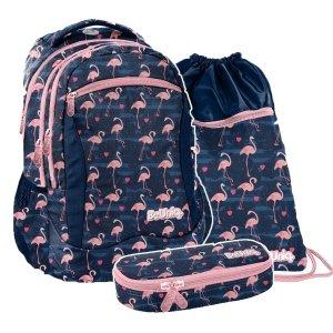 ZESTAW 3 el. Plecak szkolny młodzieżowy różowe flamingi, FLAMINGO Paso (PPNG20-2808SET3CZ)