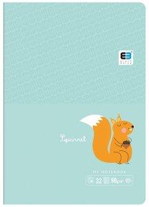 Zeszyt A5 w kratkę 32 kartek B&B SQUIRREL wiewiórka (61298)