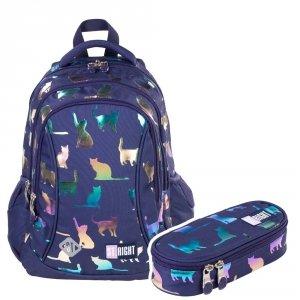ZESTAW 2 el. Plecak wczesnoszkolny ST.RIGHT kotki, HOLO CATS BP26 (39371SET2CZ)