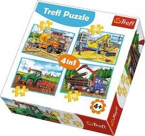 TREFL Puzzle 4 w 1 Duże maszyny budowlane (34298)