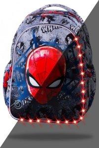 Plecak wczesnoszkolny CoolPack LED JOY S Spiderman na szarym tle, SPIDERMAN BLACK (B47303)