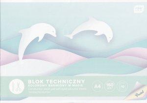 Blok techniczny PASTELOWY A4 10 kartek 160g barwiony w masie (94173)