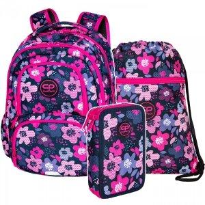 ZESTAW 3 el. Plecak CoolPack SPINER 24 L kwiatki, BLOOM (D001320SET3CZ)