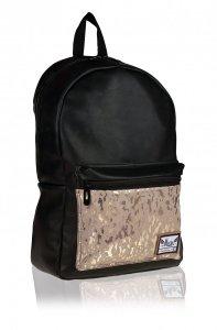 Plecak HASH czarny z ozdobną kieszenią, FANCY (502020070)