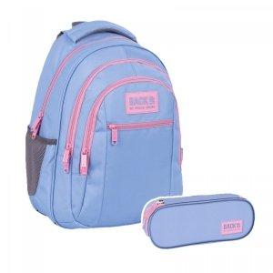 ZESTAW 2 el. Plecak szkolny młodzieżowy BackUP 26 L PASTELOWY FIOLET (PLB4O37SET2CZ)