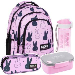 ZESTAW 4 el. Plecak szkolny młodzieżowy BackUP 26 L króliczki, BUNNY (PLB4X35SET4CZ)