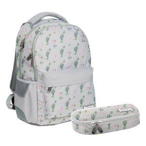 ZESTAW 2 el. Plecak szkolny młodzieżowy kaktusy i flamingi, WEST Paso (PPWE20-2705/16SET2CZ)