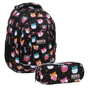 ZESTAW 2 el. Plecak szkolny młodzieżowy BackUP 26 L CHOMIKI (PLB3A37SET2CZ)