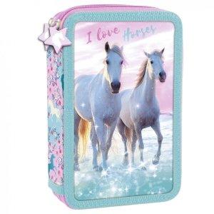 Piórnik z wyposażeniem, dwukomorowy I LOVE HORSES Konie (PWDKO22)