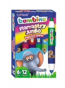 Flamastry dwustronne Jumbo 6/12 kolorów BAMBINO (03172)