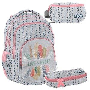 ZESTAW 3 el. Plecak szkolny młodzieżowy MAGIC Paso (PPMG20-2706SET3CZ)