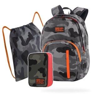 ZESTAW 3 el. Plecak CoolPack DISCOVERY 27 L moro z pomarańczowymi dodatkami, CAMO ORANGE NEON (77578SET3CZ)