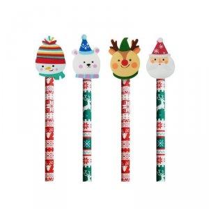 4x Ołówek świąteczny INCOOD. z dużą  gumką MIKOŁAJ BAŁWENEK RENIFER MIŚ (0088-0056SET4CZ)
