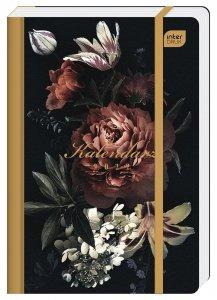 Kalendarz książkowy B6 METALLIC SATIN GOLD Kwiaty 192 strony 2022 (00348)
