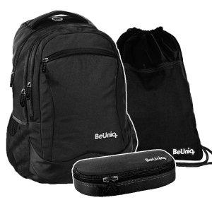 ZESTAW 3 el. Plecak szkolny młodzieżowy czarny, BLACK Paso (PPBK20-2808SET3CZ)