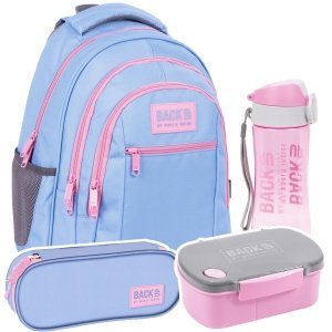 ZESTAW 4 el. Plecak szkolny młodzieżowy BackUP 26 L PASTELOWY FIOLET (PLB4O37SET4CZ)