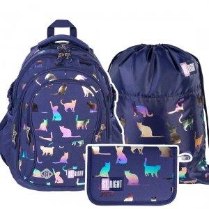 ZESTAW 3 el. Plecak szkolny młodzieżowy ST.RIGHT kotki, HOLO CATS BP1 (39364SET3CZ)