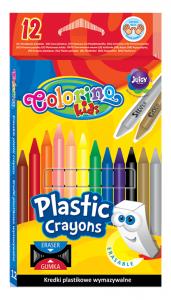 Kredki plastikowe, wymazywalne 12 kolorów COLORINO + gumka do mazania (91992)