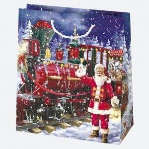 Torba torebka na prezent świąteczna mała MIKOŁAJ mix (T2_GW_15)