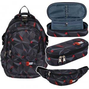 ZESTAW 3 el. Plecak szkolny młodzieżowy ST.RIGHT czarna abstrakcja 3D, 3D BLACK ABSTRACTION BP1 (26371SET3CZ)