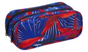Piórnik CoolPack CLEVER dwukomorowy saszetka czerwone kwiaty na niebieskim tle, HAWAIAN BLUE (88107CP)