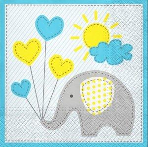 Serwetki dekoracyjne Cute Elephant SŁONIK 33x33 cm (SDL064605)