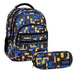 ZESTAW 2 el. Plecak szkolny młodzieżowy BackUP 28 L klocki, BRICKS (PLB3M52SET2CZ)