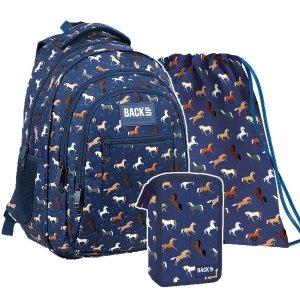 ZESTAW 3 el. Plecak szkolny młodzieżowy BackUP 26 L KONIE (PLB3O32SET3CZ)
